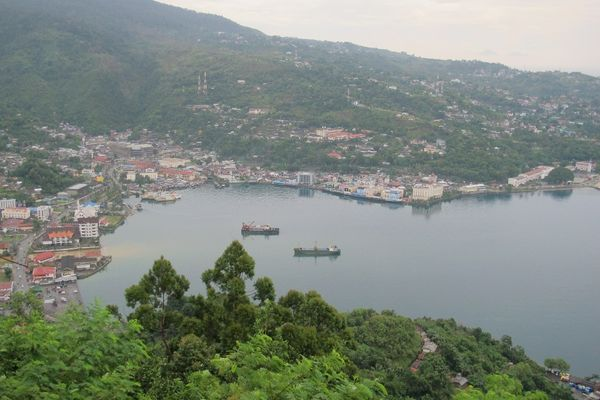 Teluk dan bebukitan yang membingkai Kota Jayapura (Sastri/ detikTravel)