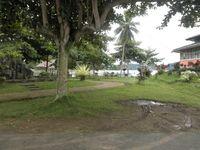 Suasana yang rindang di tepian danau. Ada banyak para pelancong atau warga setempat bersantai di sana.