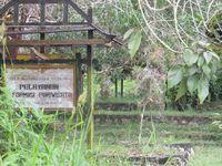 Tak ada pusat informasi atau kantor pariwisata di Makam Juang Mandor. Papan bertuliskan Pelayanan Informasi Pariwisata hanya mengacu pada bangunan kaca tak terurus di belakangnya (Sastri/ detikTravel)