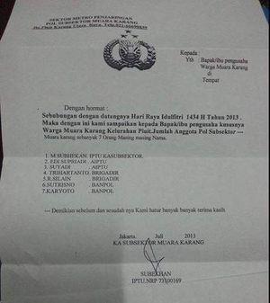 Waspadai Surat Palsu Permintaan \THR\ dari Pencatut Polisi