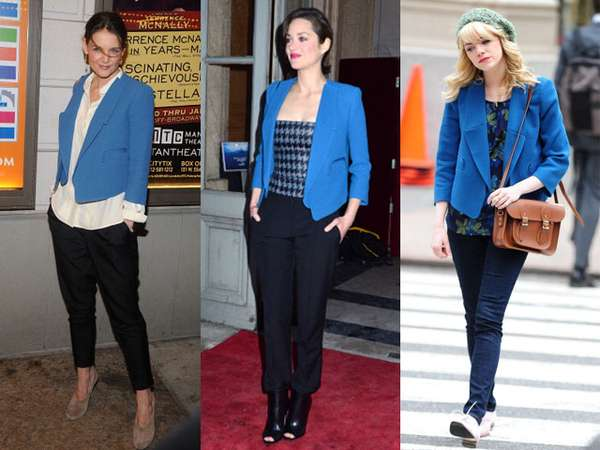 Blazer Biru Katie Holmes, Marion Cotillard dan Emma Stone