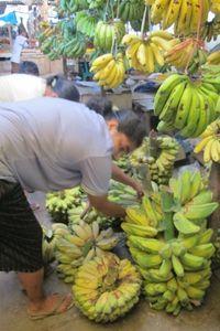 Pisang adalah salah satu buah paling populer di Atambua. Ada satu bagian pasar yang khusus pisang (Sastri/detikTravel)