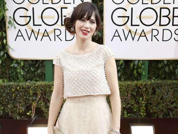Kecantikan Zooey Deschanel di Golden Globe 2014