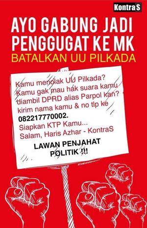 KontraS Galang Dukungan Rakyat Gugat UU Pilkada via DPRD ke MK