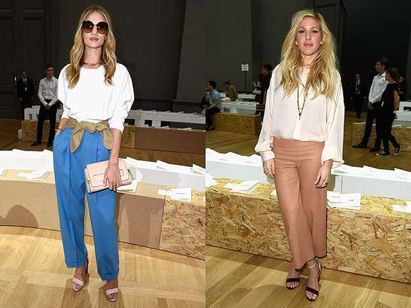 Rosie Huntington-Whiteley dan Ellie Goulding di Paris Fashion Week