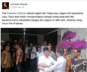 Jokowi Update Status di FB: Pak Prabowo Adalah Bagian dari Hidup Saya