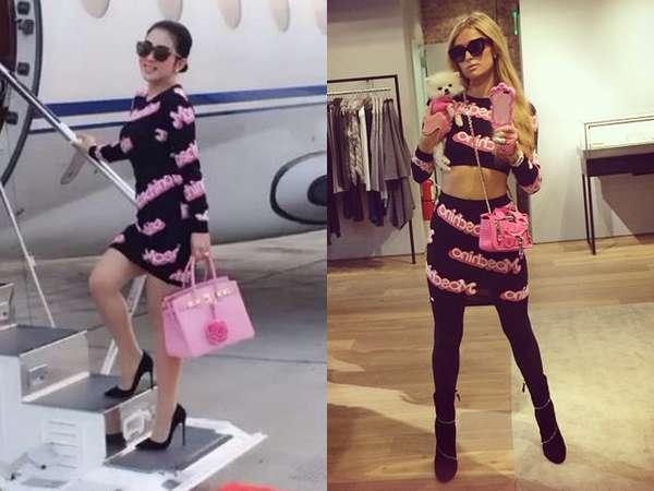 Gaya Syahrini vs Paris Hilton dengan Baju Moschino