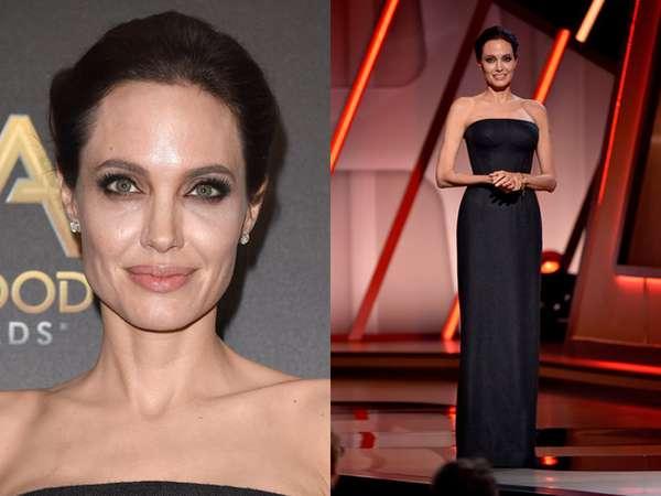 Angelina Jolie Elegan Bergaun Hitam