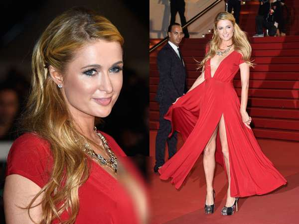 Hot and Sexy! Paris Hilton Bergaun Merah Menyala