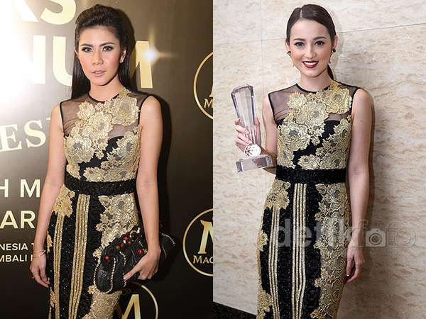 Siapa Lebih Cantik dengan Dress Ivan Gunawan ini, Cynthia Ramlan atau Julie Estelle?