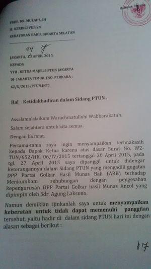 Ini Isi Lengkap Surat Muladi ke Hakim PTUN Jakarta