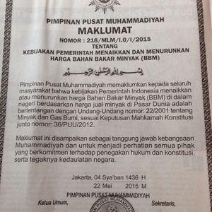 Muhammadiyah Keluarkan Maklumat Tolak Kebijakan Pemerintah Tentang Harga BBM