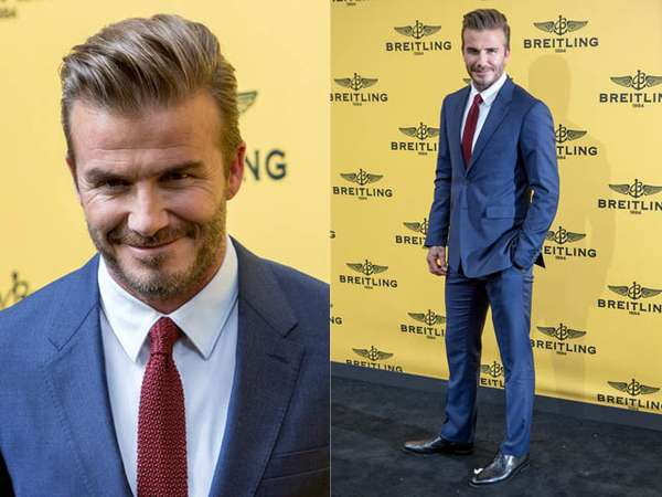 Hot Daddy! David Beckham Gagah Berjas Biru
