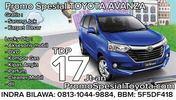 Promo Spesial Toyota Avanza, 17 Jt