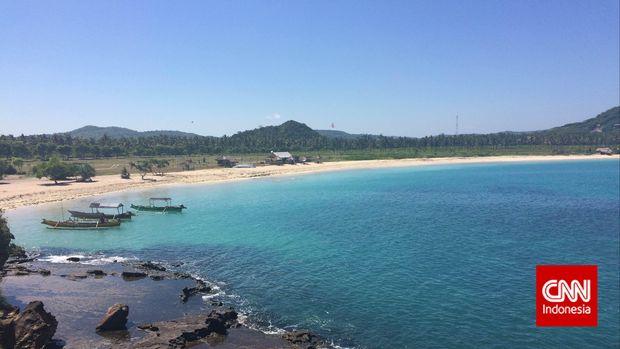 Kawasan Ekonomi Khusus Mandalika, di Nusa Tenggara Barat yang akan dikembangkan pemerintah menjadi kawasan wisata andalan baru. (CNN Indonesia/Galih Gumelar)