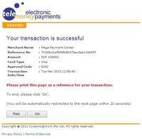 Pembayaran Melalui Kartu Kredit Selesai