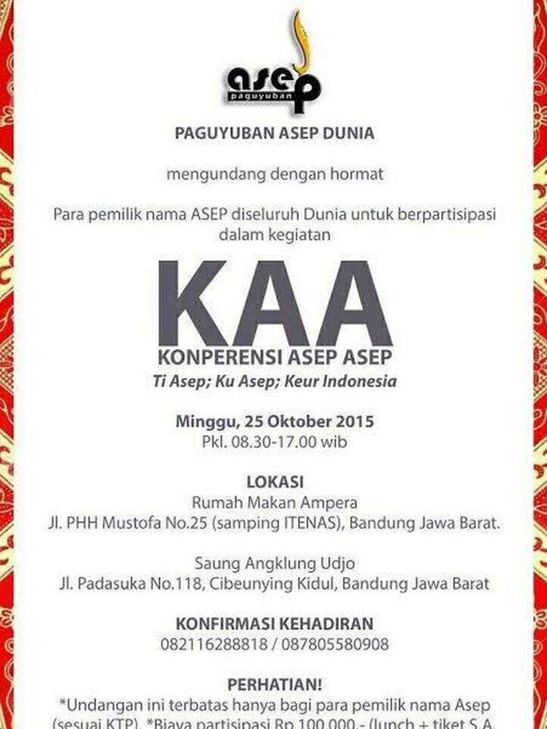 Yang Punya Nama Asep Silakan: Hadiri Konferensi Asep Sedunia di Bandung!