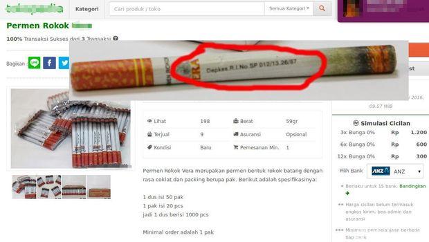 Kemenkes Cemaskan Permen Rokok Di Lapak Lapak Online