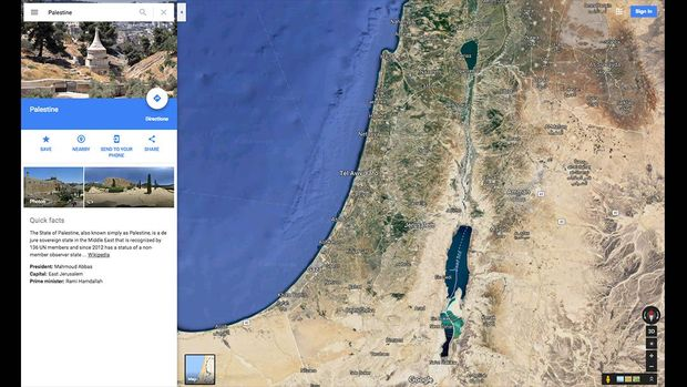 Hasil pencarian dengan kata kunci Palestine di Google Maps