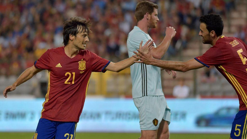 Dua Gol Silva Bawa Spanyol Tekuk Belgia