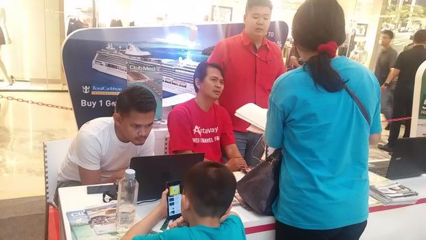Keramaian di booth Royal Caribbean (Randy/detikTravel)