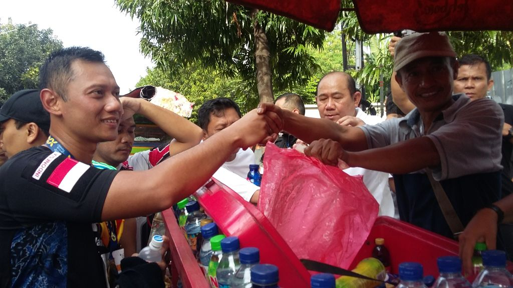 Agus Harimurti Yudhoyono di CFD (Yudhistira Amran Saleh/detikcom)