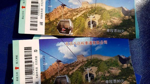 Tiket buat naik cableway Tembok Besar China (Elvan/detikTravel)
