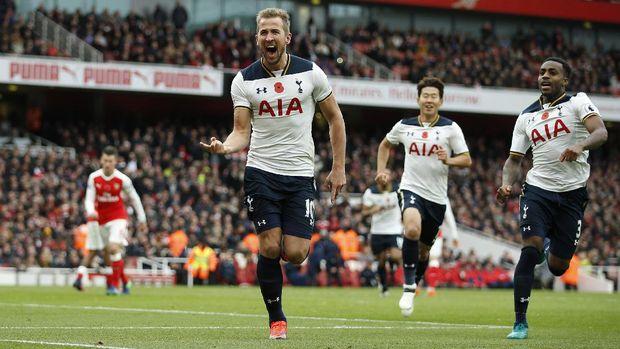 Bomber Tottenham Harry Kane punya catatan bagus jika bertemu Arsenal.