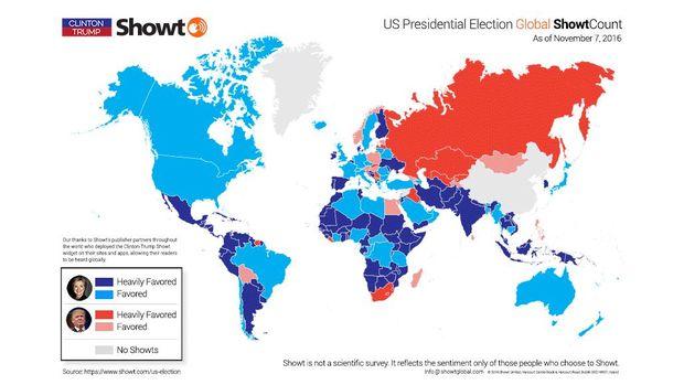 Peta sentimen dukungan capres AS secara global