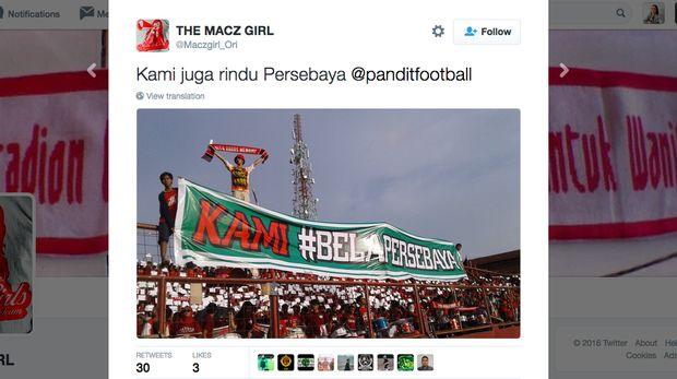Aksi solidaritas dukung Persebaya dari para pendukung PSM Makassar.