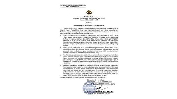 Isi maklumat Polda Metro Jaya tentang penyampaian pendapat di muka umum. (Dok. Polda Metro Jaya)