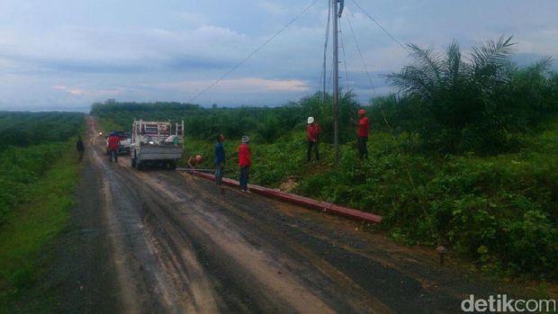 PLN bangun jaringan listrik di Desa Sardangan-Kalsel