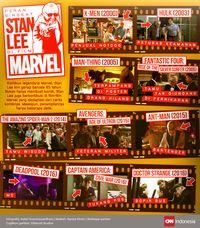 Kemunculan Stan Lee dalam beberapa film Marvel. (CNN Indonesia/Astari Kusumawardhani)