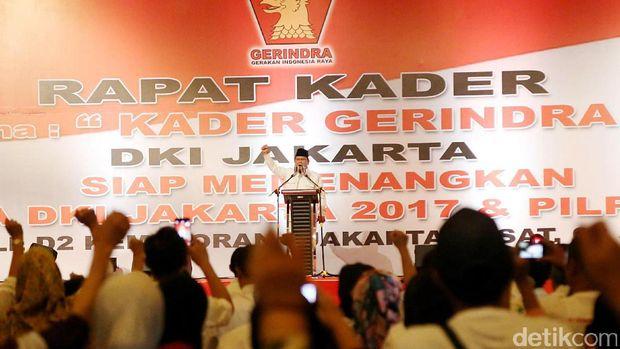 Prabowo saat rapat pemenangan Anies-Sandi