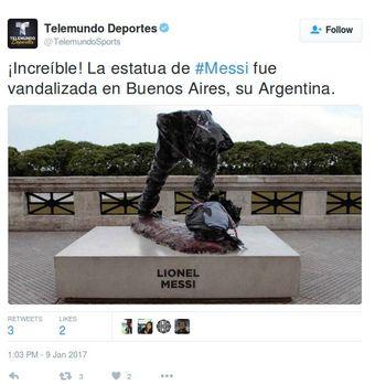 Patung Messi di Buenos Aires Dirusak
