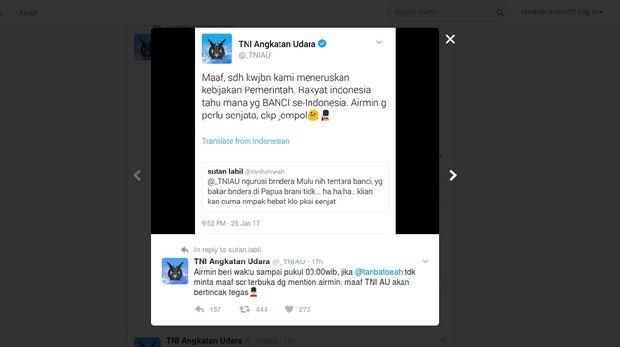 Admin TNI AU Kembali 'Gertak' Netizen Nyinyir di Twitter