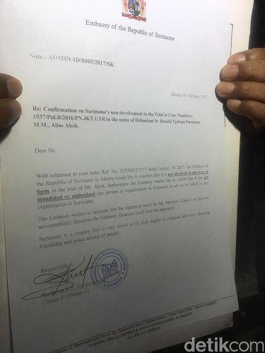 Tim Pengacara Akan Bawa Surat dari Suriname ke Sidang Ahok