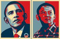 Obama Poster (kiri) yang akan dijadikan tumpuan untuk membuat Poster Ahok (kanan)