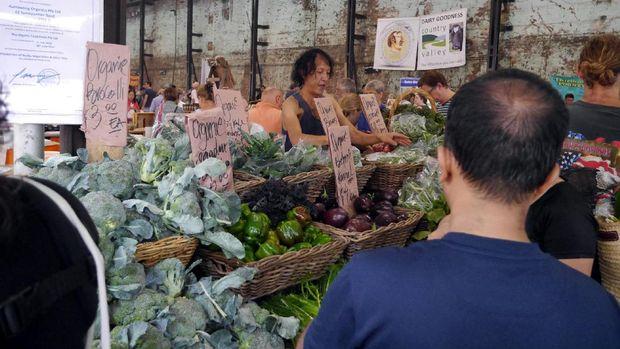Penjual sayur mayur di Carriageworks Farmer Market (Wahyu/detikTravel)