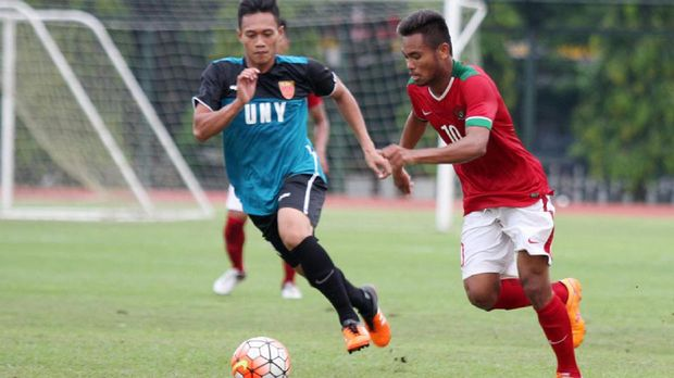 Saddil Ramdani membuka keunggulan Indonesia dan mencetak dua gol ke gawang Mongolia.