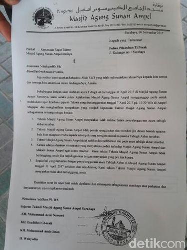 [Resmi] Takmir Masjid Agung Sunan Ampel tidak Beri Izin Pengajian Habib Rizieq