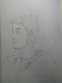 Sketsa pertama Shiromdhona saat tengah sakit dan diinfus
