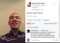 Screenshot video Ustaz Felix di Facebook.
