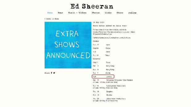 Jakarta masuk ke dalam daftar negara yang akan dikunjungi Ed Sheeran.