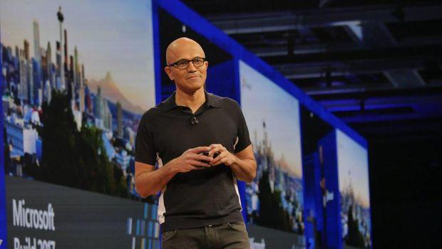 CEO Microsoft Satya Nadella saat menyampaikan keynote di perhelatan Build 2017