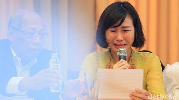 Veronica menangis saat membacakan surat Ahok.