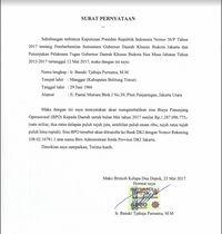 Surat pernyataan Ahok terkait pengembalian biaya penunjang operasional gubernur