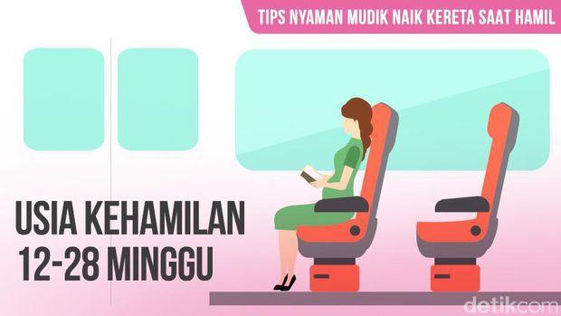 Ilustrasi ibu hamil naik kereta