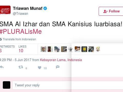 Cuitan Triawan MUnaf di Twitter.