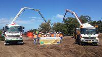 Pembangunan fondasi PLTB Sidrap